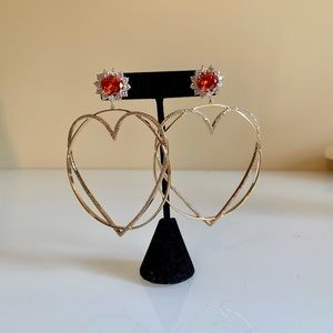 Jewelry - Large Heart hoop Bling Earrings